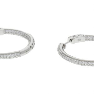 Sterling Silver Pave Hoop Earrings