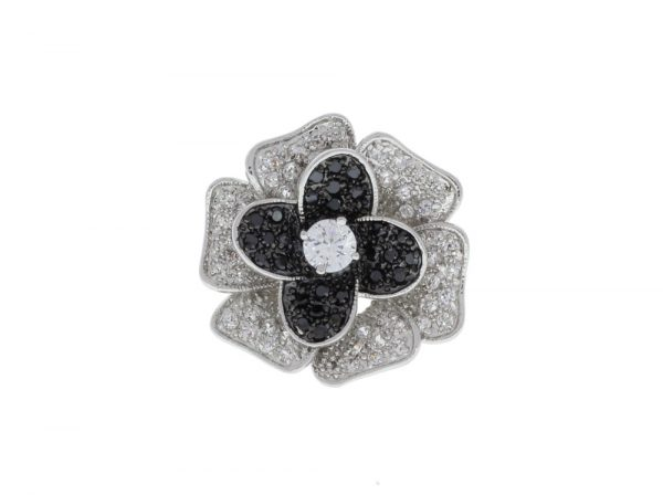 Rosalie Rose Statement Pave Ring Rhodium